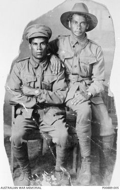 """Indigenous Australian's servicemen from Taree, NSW; 6564 Private William """"Nip"""" Simon (left) and 6551 Private Harold Howard Maher"""