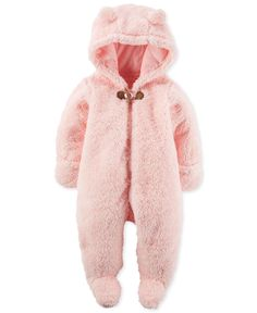 Keep baby cuddly and snuggly-warm with this sweet hooded and footed coverall, crafted from fuzzy faux-sherpa material. | Faux fur: polyester | Machine washable | Imported | Hood with ear details | Lon
