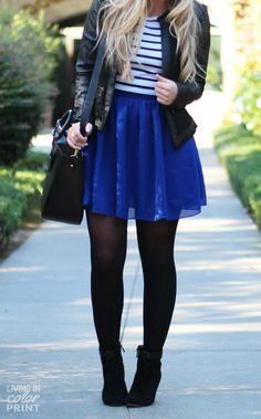 pleated lace skirt striped top leather moto jacket black tights ankle booties