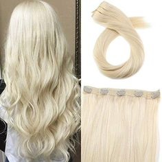 Moresoo One Piece Clip In Platinum Blonde #60 Brazilian Remy Human Hair Extension(#60)