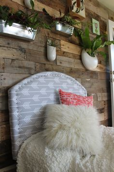 Custom upholstered headboard arrow fabric by TheIndianJetty $265 - love the fabric for this headboard