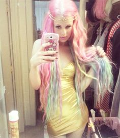Pastel mermaid hair  I love this crazy wiggy extension whatever it is. Total fantasy hair!