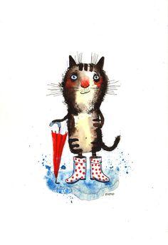 The Rainy Day Cat by Nastya Ozozo (Nastassia Atrakhovich)