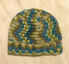 Green Blue Crochet Banded Slouchy Beanie Adult by SonitasYarnStash