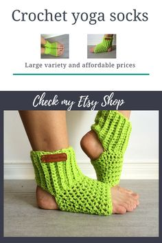 Green crochet yoga socks. Large variety and affordable prices. Visit my Etsy shop for more great gift ideas and hand crafted fashion accessories and home decor items.