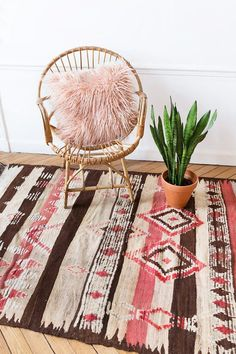Vintage Moroccan Berber Rug The Mia Pink Rug Faded by LoomAndField