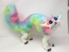 SOLD Poseable art doll animal. Fantasy creature. Rainbow Sprixx