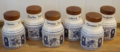 Blue & White Spice Containers Spice Containers, Victorian Design, White Ceramics, Mason Jars, Spices, Blue And White, Canning, House, Spice