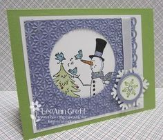 Snow Much Fun Class to Go from Flowerbug's Inkspot.  The color combination of Wisteria Wonder and Pear Pizzazz along with the textured/punched window make it pretty cute.