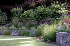 Cottage garden on a backyard slope-- love the stone retaining wall!