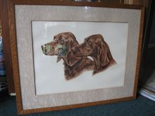 Wonderful Artist Signed Golden Lab Print Bats in the Attic They say they are labs,but they look like Irish Setters to me. Irish Setter, English Setter, Irish English, Beautiful Wall, Bats, I Love Dogs, Attic, Art Pieces, Wall Decor
