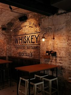 So grab a beer, whiskey, or glass of wine and get inspired because here are 71 totally unique ideas for decorating your home bar. Get your home bar ready for entertaining with these design ideas and tips. Cafe Bar, Pub Bar, Deco Restaurant, Restaurant Interior Design, Brick Restaurant, Modern Restaurant, Speakeasy Bar, Prohibition Bar, Pub Design