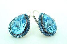 art deco ocean blue crystal rhinestone sterling silver by xxyz, $30.00