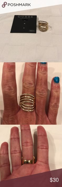 Guess Ring BNWT Guess Ring. Gorgeous Gold Plated ring adorned with fabulous rhinestones that sparkle like no other. Free gift with purchase Guess Jewelry Rings