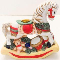 Vintage Giftco Christmas Rocking Horse Candleholder Figurine