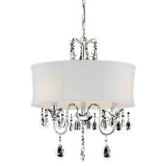 Chandelier with a white shade and crystal accents. Product: ChandelierConstruction Material: Metal, fabric and glass