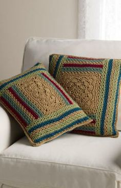 Log Cabin Variations Pillows Free Crochet Pattern from Red Heart Yarns