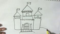 How to draw a Castle  - in easy steps for children, kids, beginners Step...