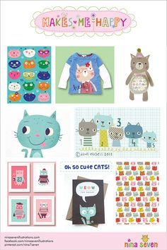 Make Me Happy Cats Mood board by Nina Seven http://ninaseven.blogspot.com/2014/07/makes-me-happy-cats.html
