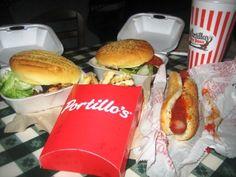 Portillos Hotdog with ketchup Hamburgers fries and medium Rootber