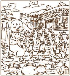 owabird Illustration Blog: まゆげ猫探し5