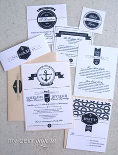 Anchor invitation set, nautical, navy and pink; via  mydearpaperie