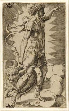 "Julius Bonasoni, ""Sol"" (with his sign Leo), 16th century"