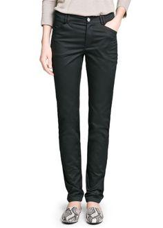 MANGO Women's Slim-Fit Cotton Trousers