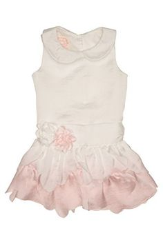 Baby Biscotti Baby-Girl's Infant Drop Waist Birthday Girl Dress - Ivory - The birthday girl will be ready to blow out the candles in this darling drop waist dress in silky ivory sateen. It has a sweet peter pan collar and a skirt of layered scalloped ruffles.