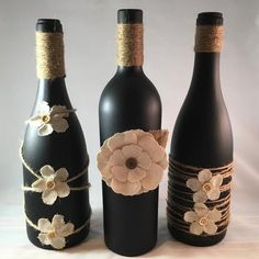 Set of 3 Upcycled Wine Bottles by TopsailTurtleCrafts on Etsy Recycled Glass Bottles, Painted Wine Bottles, Bottles And Jars, Diy Bottle, Wine Bottle Crafts, Bottle Art, Beer Bottle, Diy Home Crafts, Jar Crafts