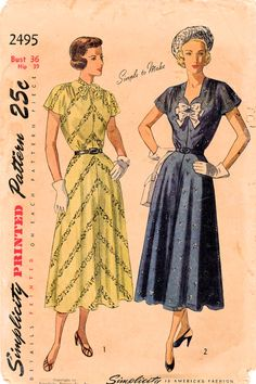 Simplicity 2495: Use this 1940s vintage sewing pattern for women to sew a soft graceful afternoon dress.  Dress details: - blouson bodice with soft gathers at waistline (front & back) - cap sleeves - sweetheart neckline or jewel neckline with stiletto vent and tie collar - optional fixed bow accents or button accents - 4-gore glared tea length skirt - flared cap sleeves - side zipper closing - self-fabric buckled belt  Winning fashion from 1948!  Size 36 Bust 36 in Waist 30 in Hip 39 in P...