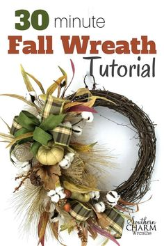Use remade sprays from the local craft store and make a quick 30 minute fall wreath.