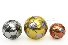 golden, silver and bronze soccer balls on white background - Stock Footage | by madbit