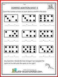 best domino math images  teaching math st grade math first  printable kindergarten math worksheets domino addition  kindergarten addition  worksheets addition and subtraction worksheets