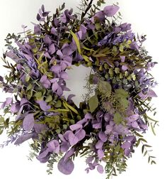 """17"""" Natural Preserved Kiwi and Lilac Eucalyptus with Salal leaves - made in California $22"""