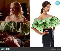 Bambah Green Polka Double Ruffle Top worn by Chanel Oberlin (Emma Roberts) on Scream Queens Scream Queens Costume, Chanel Scream Queens, Scream Queens Fashion, Fashion Idol, Fashion Tv, Cute Fashion, Fashion Outfits, Off The Shoulder Top Outfit, Off Shoulder Tops