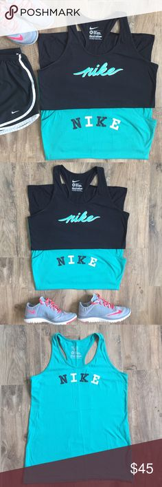 Nike Tank Pair Pair of two razorback Nike tanks. One teal and one black. Excellent condition. No stains, holes, snags etc. Both slim fit. 100% cotton. 🚭non smoking home Nike Tops Tank Tops