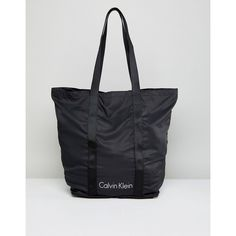 Calvin Klein Packable Shopper Bag in Black (5.930 RUB) ❤ liked on Polyvore featuring bags, handbags, tote bags, black, calvin klein tote bag, monogram tote, print tote bags, purse tote and shopper tote bag