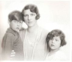 King Michael of Romania as a child with his mother, Princess Helen of Greece and Denmark, and his 1st cousin Princess Alexandra of Greece and Denmark, daughter of his maternal uncle, King Alexander of Greece.  Princess Alexandra would become the last queen of Yugoslavia.