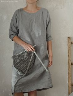 smock dress in mid grey linen