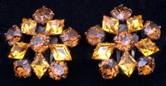 Vintage Costume Jewelry Price Guide: Schreiner Amber Rhinestone Earrings