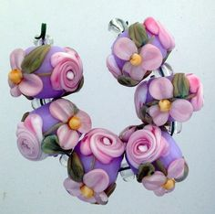 BLISS Pink Roses and Blossoms on Lavender Lampwork Bead Set, by Blissful Garden Beads on Artfire.