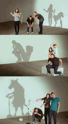 people are playing with their shadows