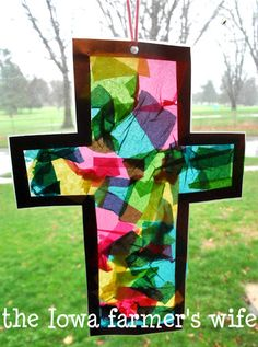 """""""Stained Glass"""" Cross Craft - great gift for kids to make from The Iowa Farmer's Wife"""