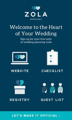 "Planning a wedding? Meet your free suite of wedding planning tools: Your wedding website, registry, checklist, and guest list ALL in one place. We like to call it ""the heart of your wedding,"" but we'll let you decide."