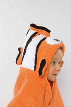 Clownfish Hooded Towel, Animals Hooded Towel, Kids Hooded Towel