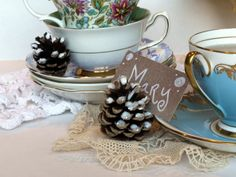 glittering pine cone place card DIY and host a holiday tea party