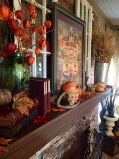 Fireplace mantel ,  Fall decor