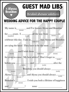 Bridal Shower Mad Libs!  Lots available online..this one looks funny.