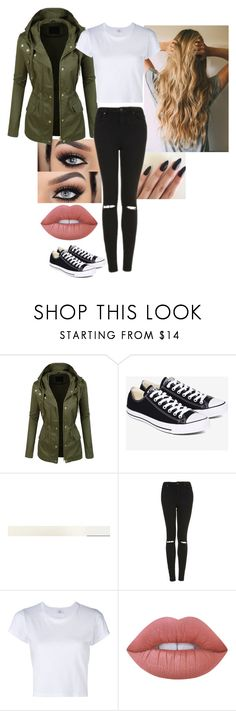 """""""Untitled #153"""" by mayaforever3 ❤ liked on Polyvore featuring LE3NO, Converse, Topshop, RE/DONE and Lime Crime"""